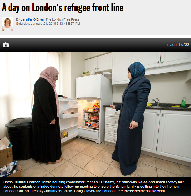 Jennifer O'Brien's story on refugees in London, for the London Free Press (picture of two female refugees near an open fridge).